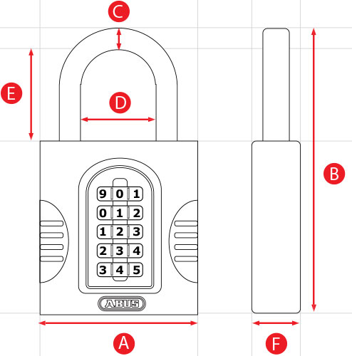 ABUS Combination Padlock Dimensions Diagram