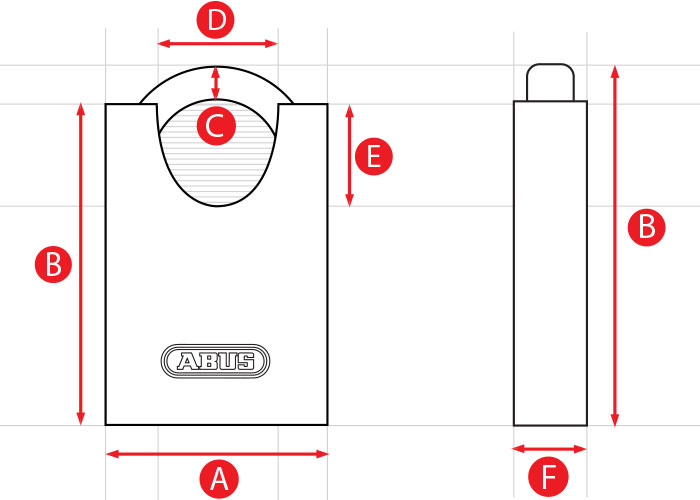 ABUS CS Padlock Dimensions Diagram