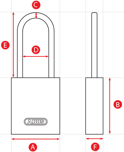 ABUS Long Shackle Padlock Dimensions Diagram
