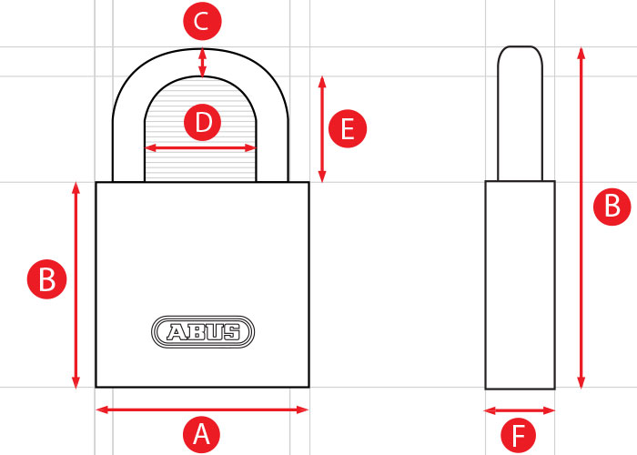 ABUS Padlock Dimensions Diagram